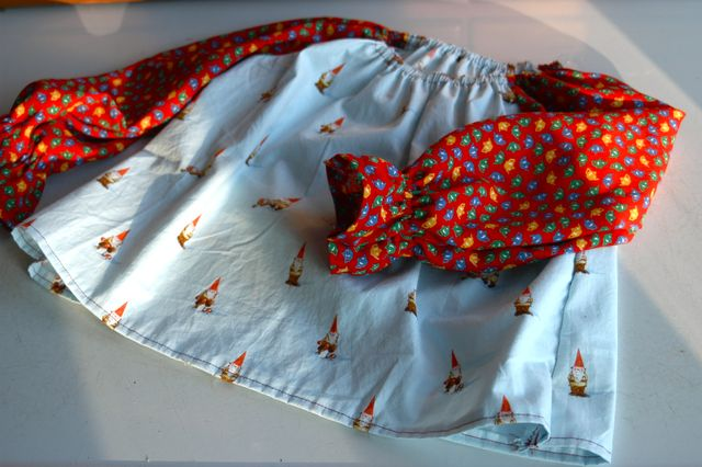 Sewing: vintage gnome shirt.   Clean.