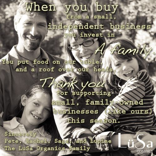 Buy small this season! www.lusaorganics.com