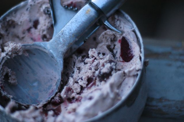Cherry chocolate chunk ice cream recipe. (egg-free, dairy-free/vegan option)