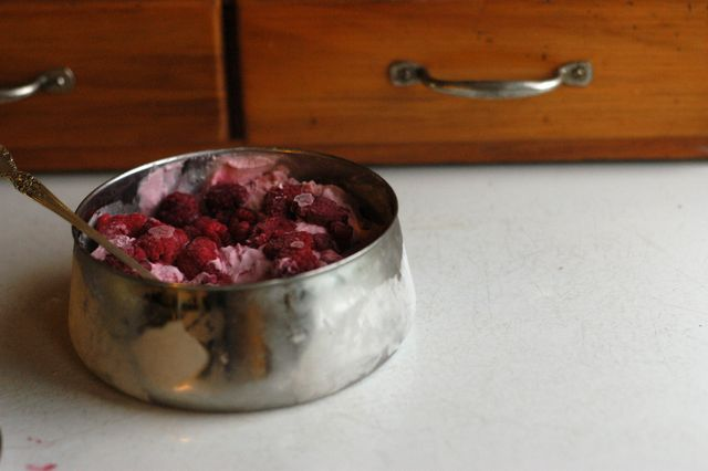 Raspberry-ginger ice cream recipe. (egg-free, dairy-free/vegan option)
